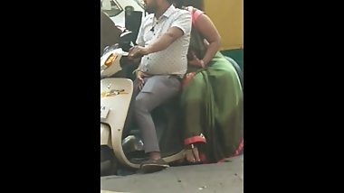 Indian wife rubbing her husband dick at traffic light in public