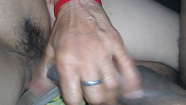 Rubbing hard cock on hairy pussy cunt