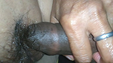 Her hairy cunt strocked by hard penis