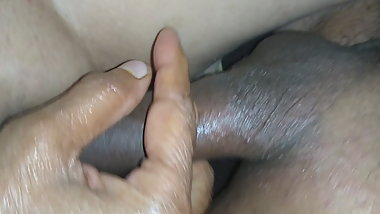 My wife playing with my hard cock in the end she fucked