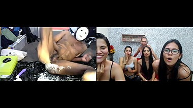 5 cam models LAUGH at Indian using WHIPPED CREAM up his ASS