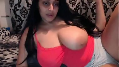 indian flaunts huge tits on cam