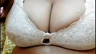 Desi mature bbw aunty in white leggings and bra only