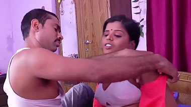 Hot desi shortfilm 74 - Aunty big boobs squeezed hard in white bra, smooch
